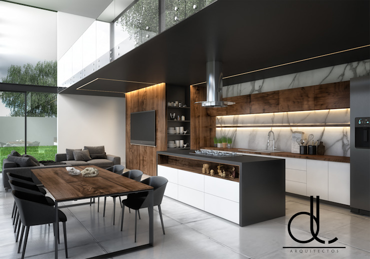 LD ARQUITECTOS Kitchen Marble Wood effect