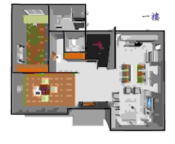 室內一樓平面圖: 斯堪的納維亞  by 安居住宅有限公司, 北歐風
