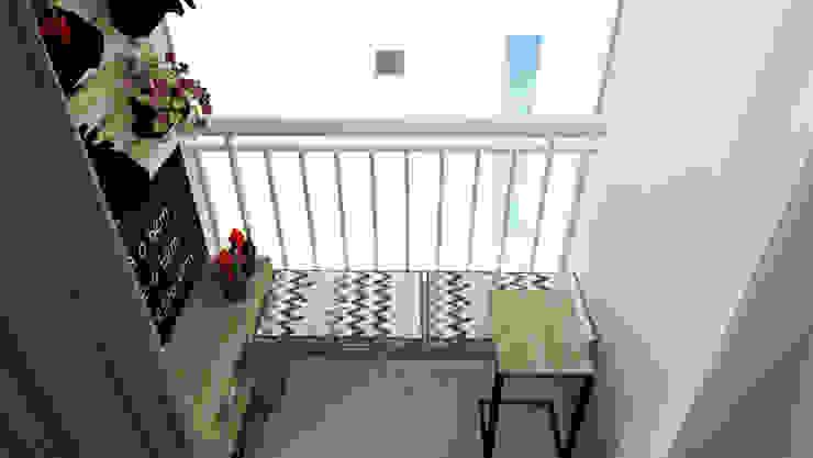 Varanda apartamento Bruna Ferraresi Jardins zen MDF Efeito de madeira