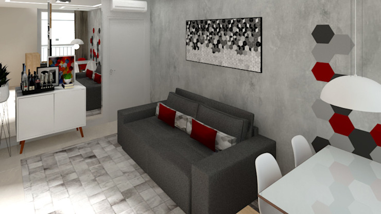 Bruna Ferraresi Modern Living Room Concrete Grey