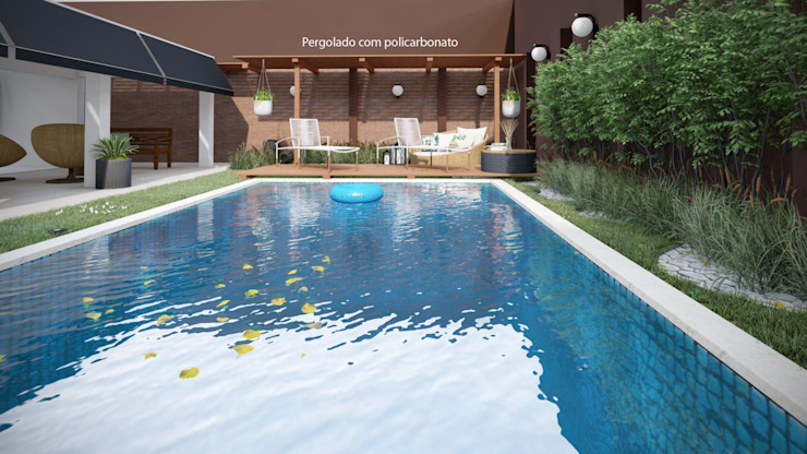 Studio MP Interiores Gartenpool Holz Holznachbildung