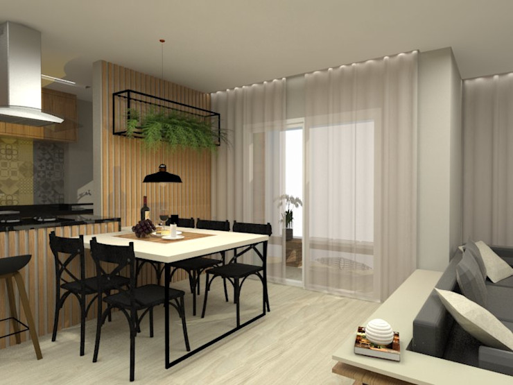 Bruna Ferraresi Modern dining room MDF Black