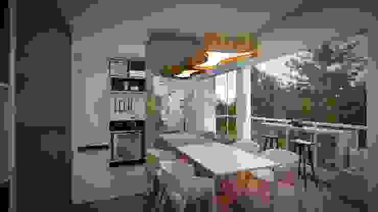 Studio MP Interiores Minimalist dining room MDF Wood effect