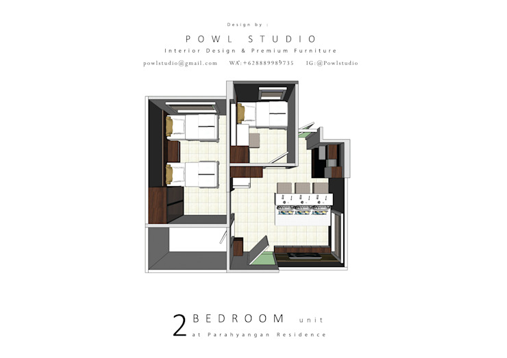 Parahyangan Residence 12 CH - Tipe 2 Bedroom:   by POWL Studio