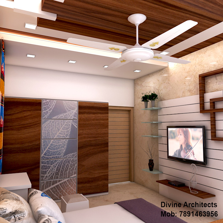 Bed room interior design for mr. Shyam Gupta ,pawanpuri , Bikaner Rajasthan divine architects Modern style bedroom