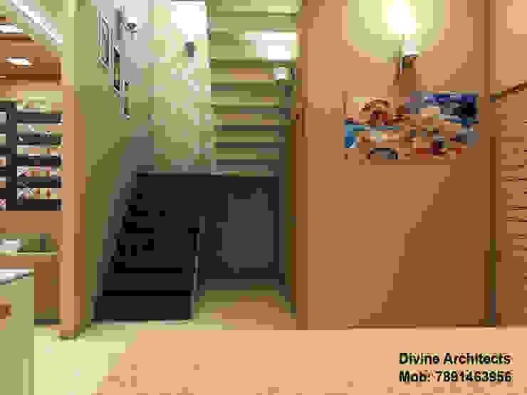 Villa Interior design for mr. Divyarth duveymahindra sez ajmer road jaipur divine architects Modern corridor, hallway & stairs