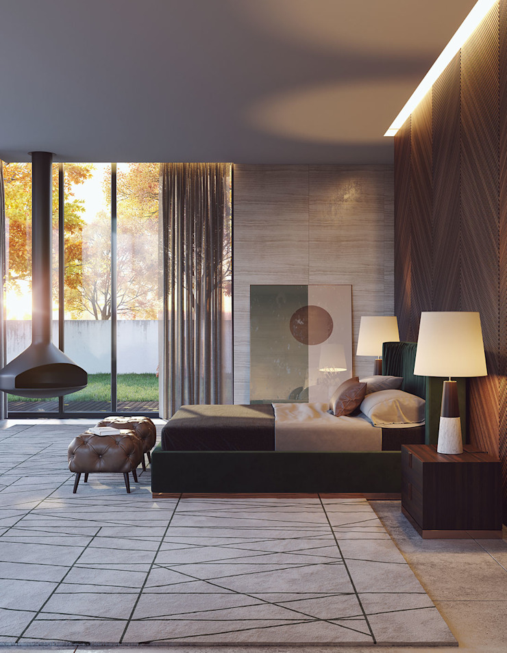 Laskasas Camera da letto moderna Verde