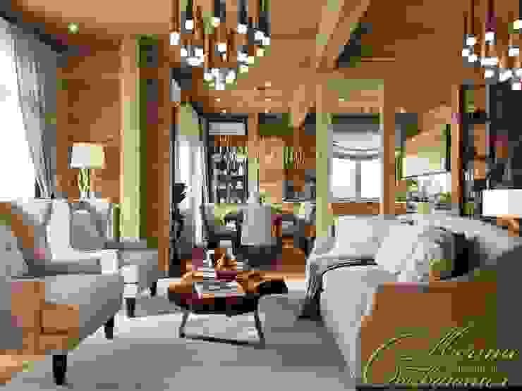 Деревянная гостиная Компания архитекторов Латышевых 'Мечты сбываются' Гостиная в стиле лофт