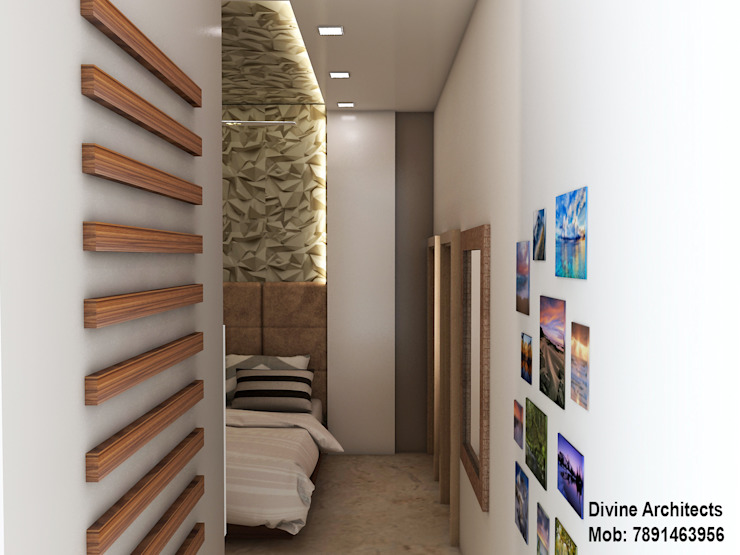 Another bed room interior design for mr. Shyam Gupta Bikaner Rajasthan Modern style bedroom by divine architects Modern