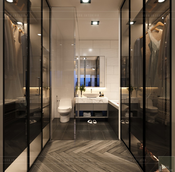 Thiết kế nội thất nhà phố, biệt thự phong cách hiện đại Phòng tắm phong cách hiện đại bởi ICON INTERIOR Hiện đại