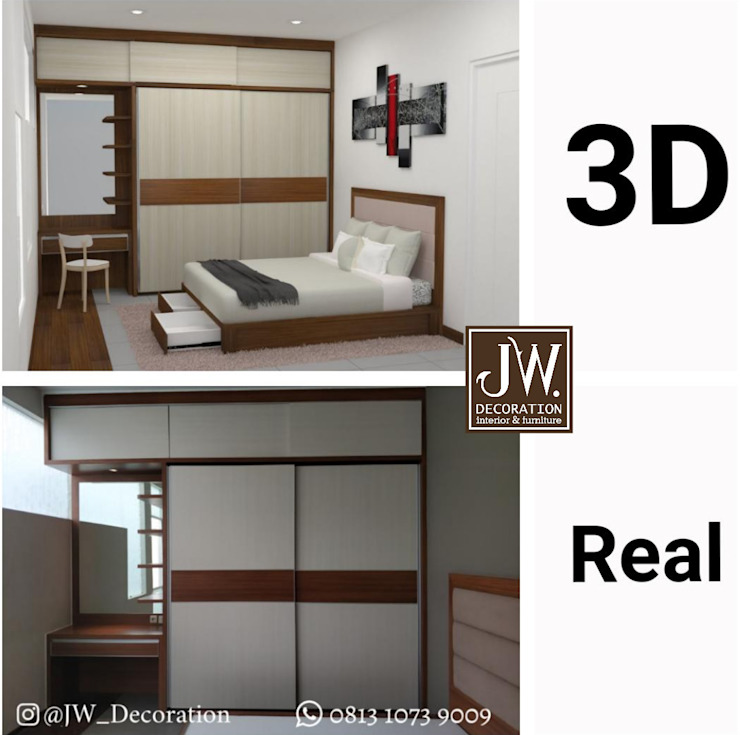 Modern style bedroom by JW Decoration Modern Plywood