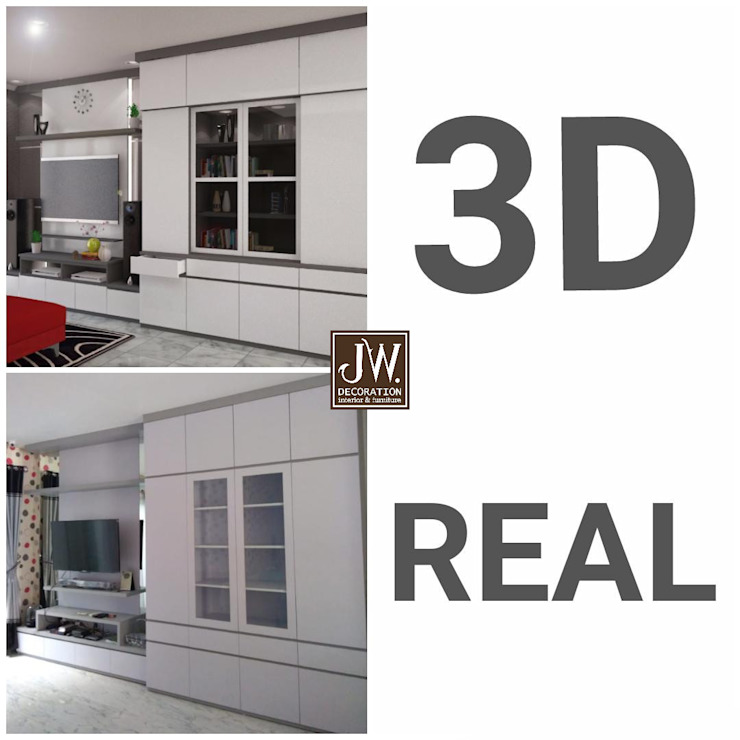 Pak Irwan, Serpong Paradise JW Decoration Living roomTV stands & cabinets Kayu Lapis White