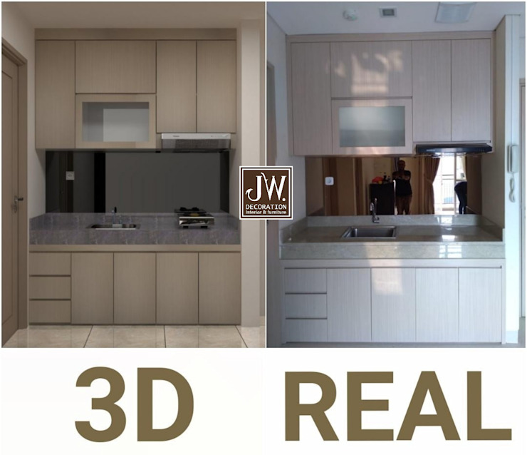 JW Decoration Built-in kitchens Plywood Wood effect