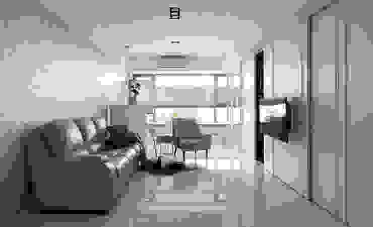 貼上大理石紋壁紙的客廳背牆 现代客厅設計點子、靈感 & 圖片 根據 Moooi Design 驀翊設計 現代風 大理石