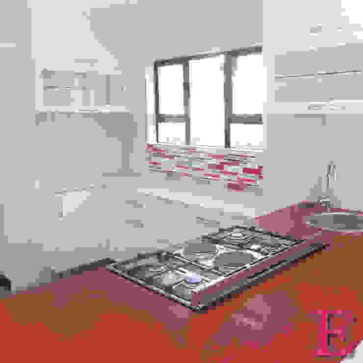 Ultra Modern Kitchen with Red Focalpoint by Ergo Designer Kitchens Modern Engineered Wood Transparent