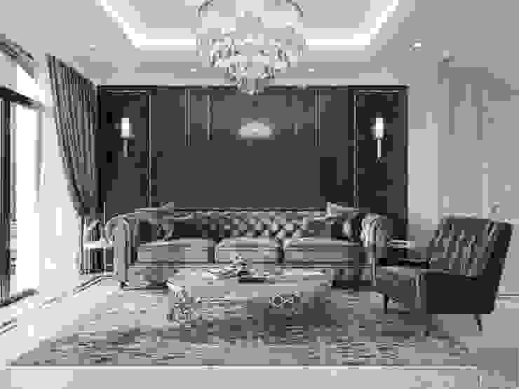 Thiết kế nội thất biệt thự phong cách Tân Cổ Điển sang trọng đẳng cấp Phòng khách phong cách kinh điển bởi ICON INTERIOR Kinh điển