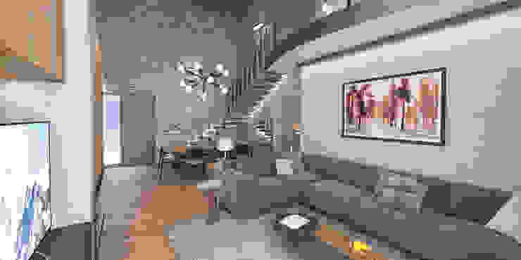 Progetto villa smart studiosagitair Soggiorno moderno