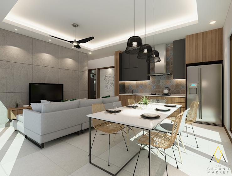 Living, Dining and Kitchen Area:modern  oleh The Ground Market, Modern