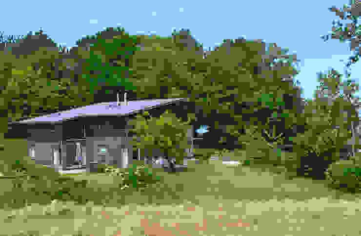 Einbettung in die Landschaft von gondesen architekt Modern Holz Holznachbildung