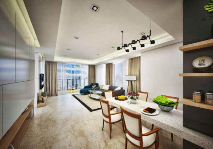 Phòng khách phong cách châu Á bởi Jasa Arsitek Karawang Châu Á