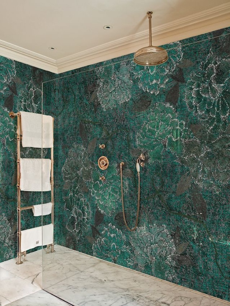 Bronze with green effects washroom Colonial style bathroom by Jasmine Interior Designs Colonial Tiles