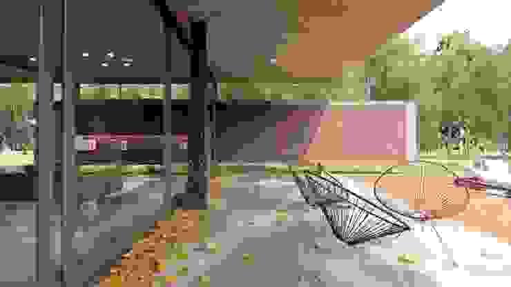 VIVIENDA UNIFAMILIAR Grand Bell #1070: Terrazas de estilo  por Arq Olivares,Moderno Hormigón