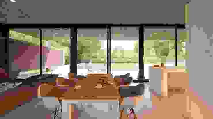 VIVIENDA UNIFAMILIAR Grand Bell #1070 Comedores modernos de Arq Olivares Moderno Aluminio/Cinc