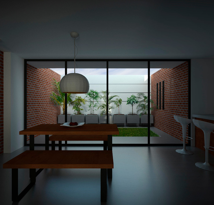 Interior Casa Santa Anita Salas modernas de Punto De Fuga Arquitectura Moderno Ladrillos