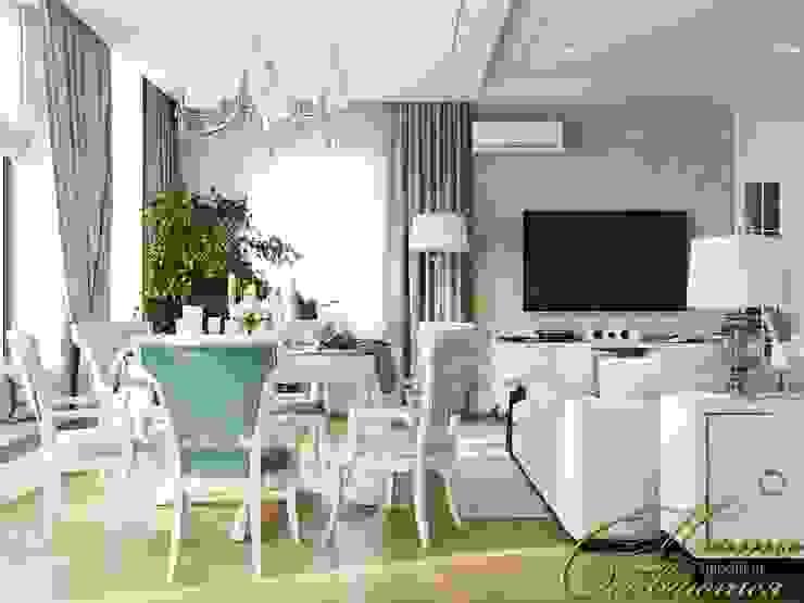 Завтрак у озера: гостиная в частном доме Компания архитекторов Латышевых 'Мечты сбываются' Гостиные в эклектичном стиле