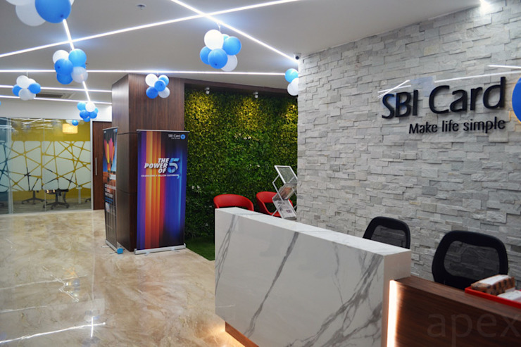 Office area reception by Apex Project Solutions Pvt. Ltd. Modern Marble