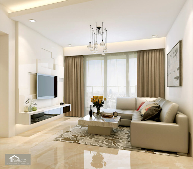 Living room Minimalist living room by Singapore Carpentry Interior Design Pte Ltd Minimalist
