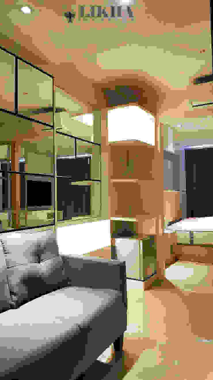 Area Ruang Tamu (Mirror Walltreatment & Shelves Cabinet) Ruang Keluarga Minimalis Oleh Likha Interior Minimalis Kayu Lapis