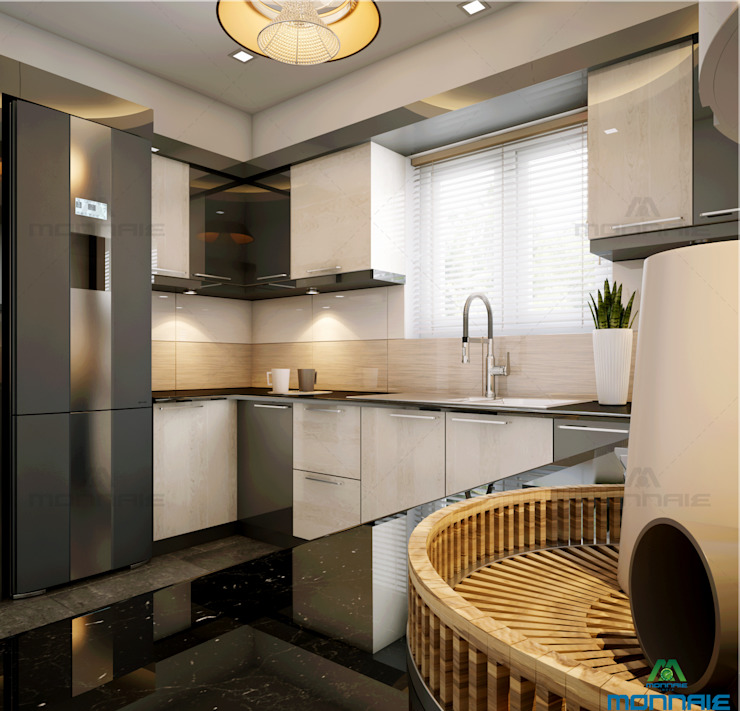 Modern kitchen by Monnaie Interiors Pvt Ltd Modern