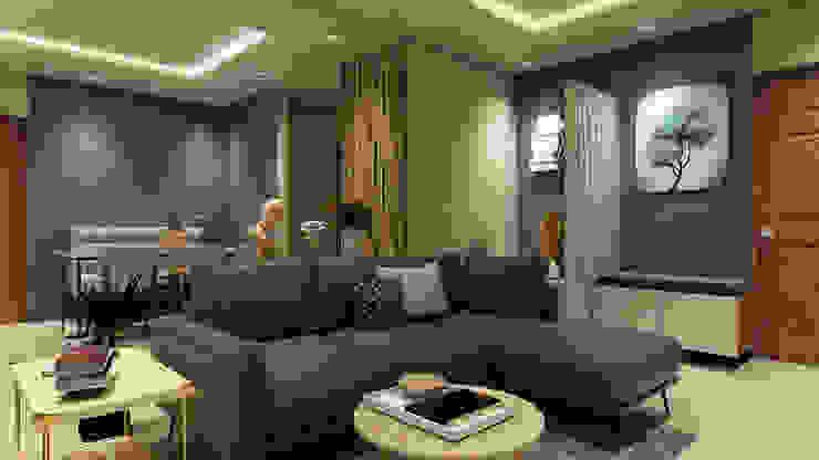 Salas / recibidores de estilo  por The Cobblestone Studio