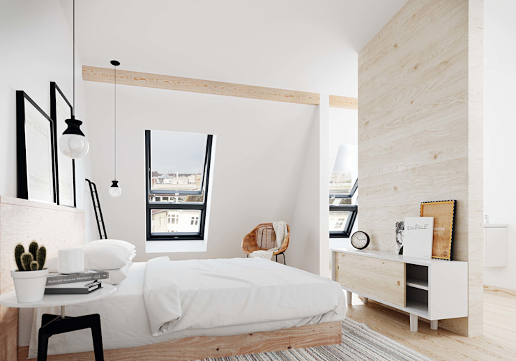 Scandinavian style bedroom by HAA&D, HAGAR ABIRI/ ARCHITECTURE & DESIGN Scandinavian Wood Wood effect