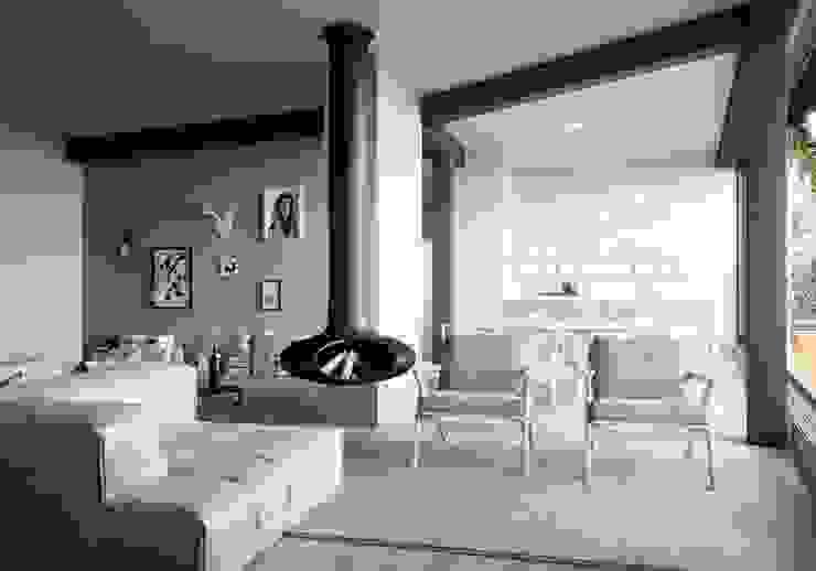HAA&D, HAGAR ABIRI/ ARCHITECTURE & DESIGN 北欧デザインの リビング 灰色