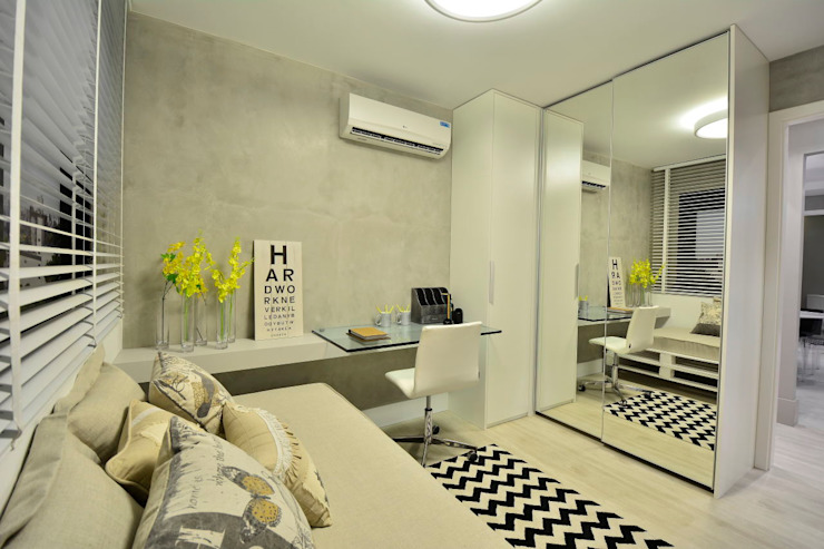 Apartamento Modelo para Público Jovem Descolado BG arquitetura | Projetos Comerciais Quartos modernos