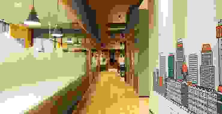Studio Gritt Complesso d'uffici in stile eclettico Vetro Effetto legno