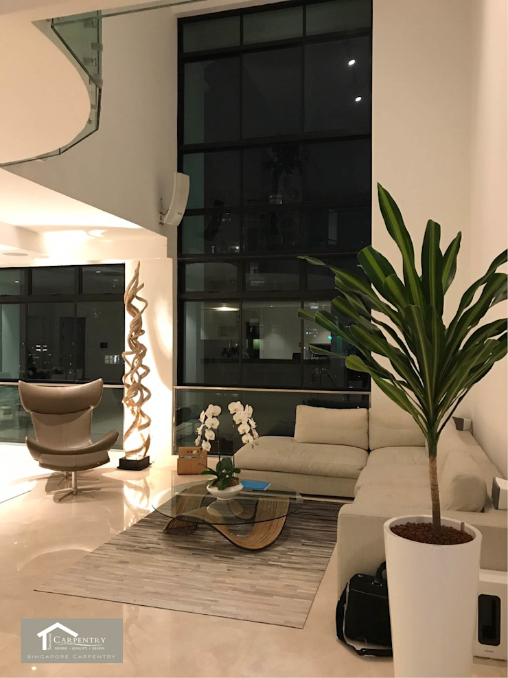 Transitional style at 53 Grange Road Modern living room by Singapore Carpentry Interior Design Pte Ltd Modern