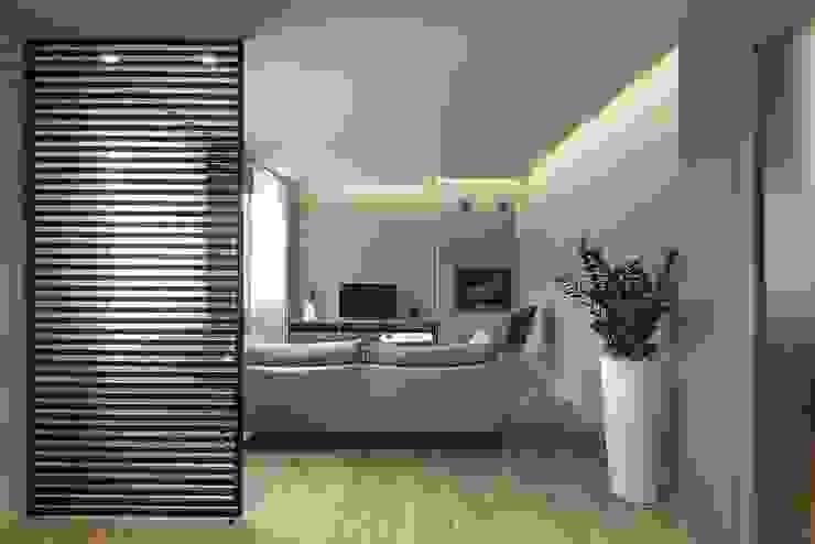 GREENPOINT LIVING Soggiorno in stile scandinavo di Flussocreativo Design Studio Scandinavo