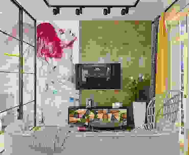Однокомнатная квартира для молодой девушки: Гостиная в . Автор – AnnaKimdesign , Лофт