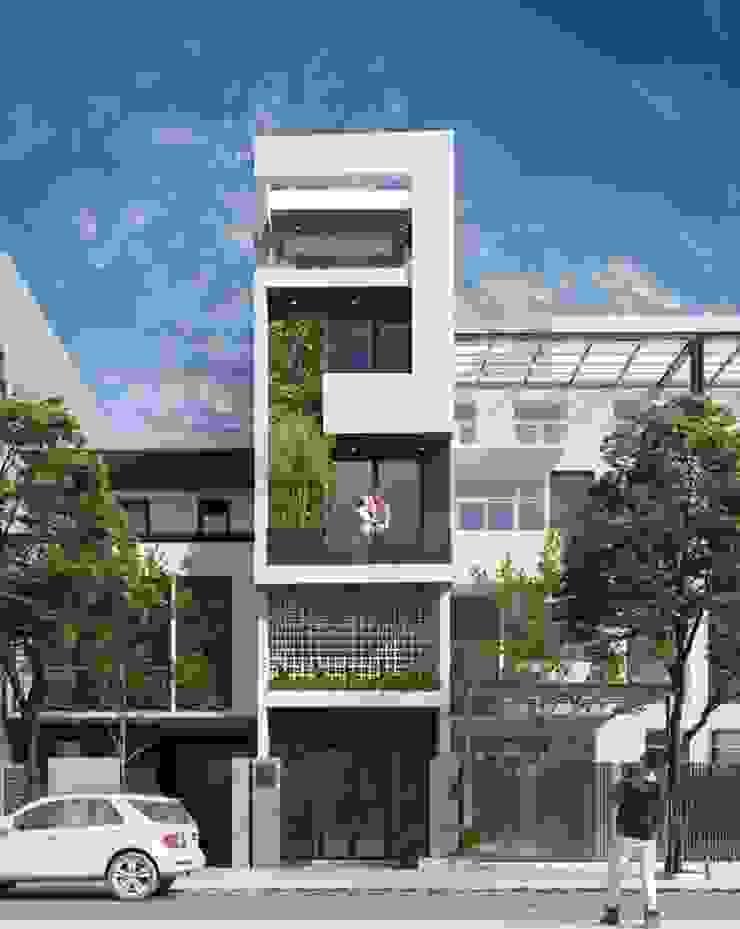 Những mẫu thiết kế mặt tiền nhà phố hiện đại theo xu hướng kiến trúc mới 2019 by Công ty Cổ phần Thiết kế Xây dựng Bộ Ba