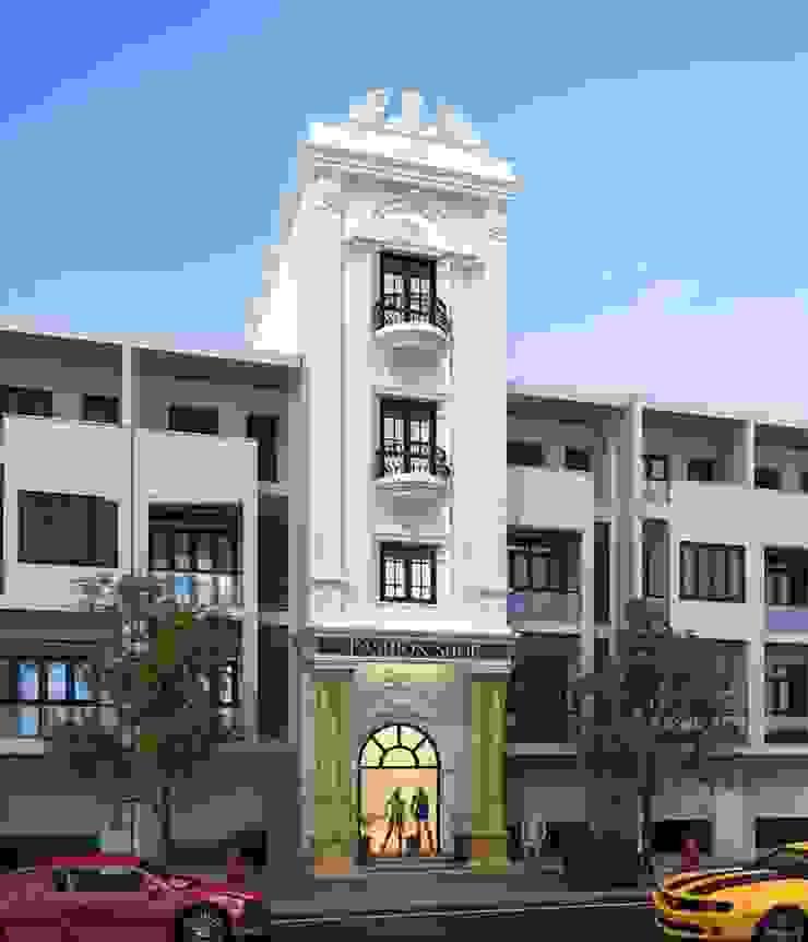 Thiết kế mặt tiền nhà phố tân cổ điển sang trọng và quý phái của năm 2018 - tiếp tục được ưa chuộng ở 2019 by Công ty Cổ phần Thiết kế Xây dựng Bộ Ba