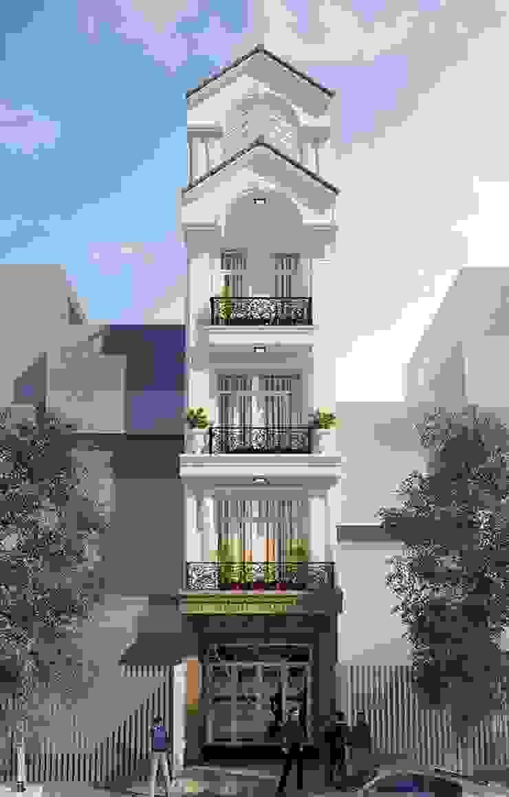 Thiết kế mặt tiền nhà phố tân cổ điển sang trọng và quý phái của năm 2018—tiếp tục được ưa chuộng ở 2019 by Công ty Cổ phần Thiết kế Xây dựng Bộ Ba