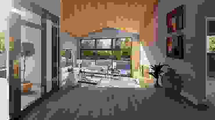 Vista estar hacia terraza de Lagom Studio Moderno
