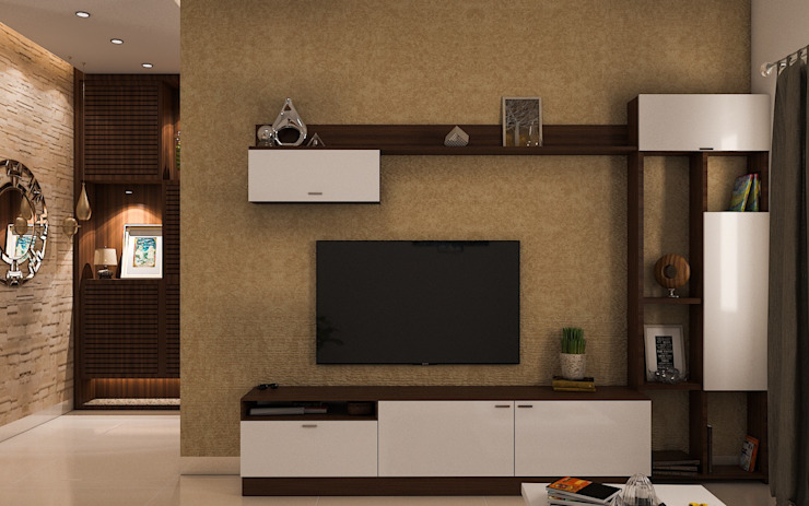 Prestige Ferns 2 BHK Modern Living Room by Modulart Modern