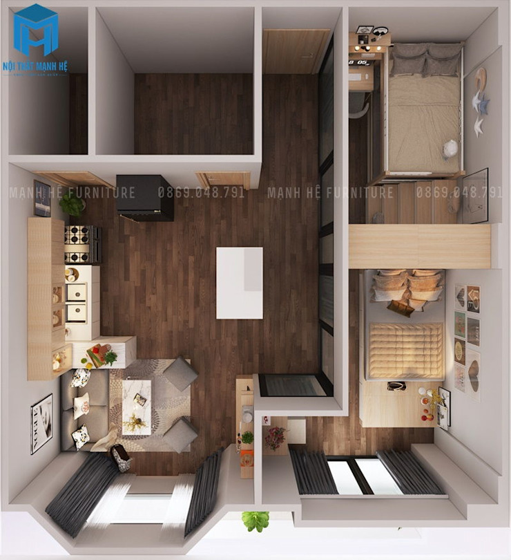Bản vẽ 3D tổng thể căn hộ bởi Công ty TNHH Nội Thất Mạnh Hệ Hiện đại
