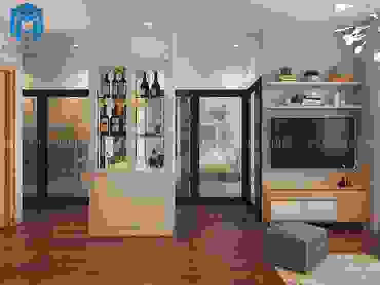 Tủ rượu màu trắng hiện đại bởi Công ty TNHH Nội Thất Mạnh Hệ Hiện đại