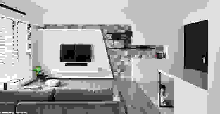 family+(cat*5)=home 思維空間設計 现代客厅設計點子、靈感 & 圖片