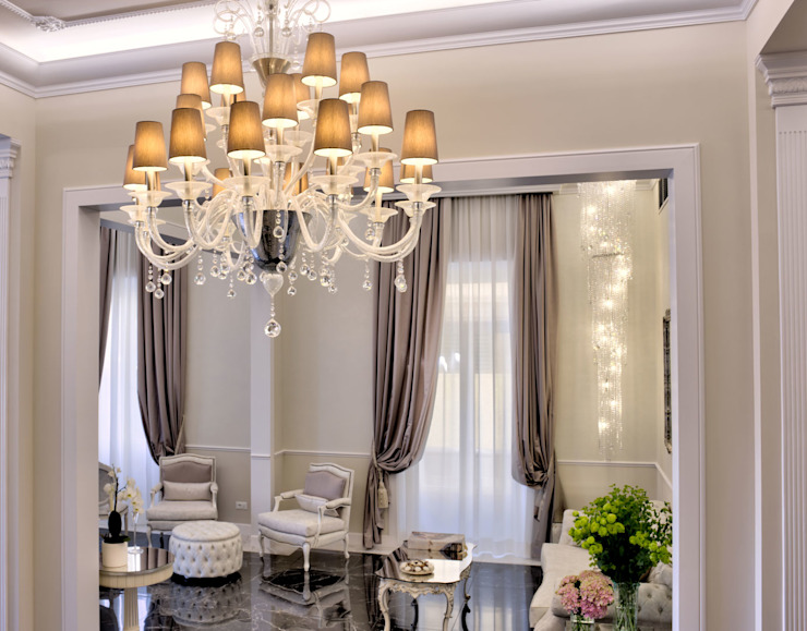 Luxury Chandelier in Murano Glass - Hotel The Moon, Florence MULTIFORME® lighting Corridor, hallway & stairsLighting Glass Transparent